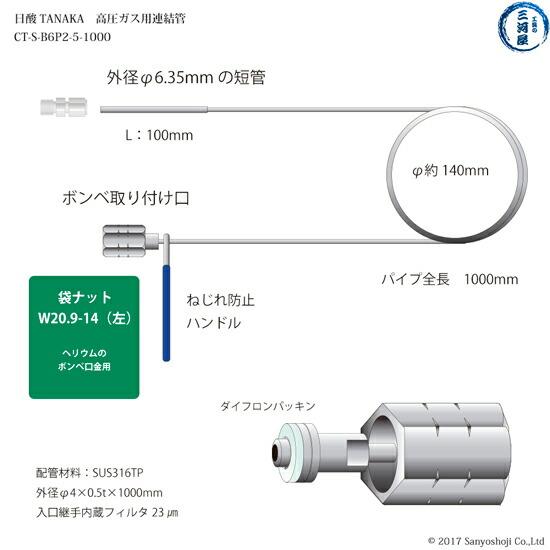 日酸TANAKA ヘリウムガス用連結管 CT-S-B6P2-5-1000 変換継手付き(W20.9-14(L)-φ1/4外観