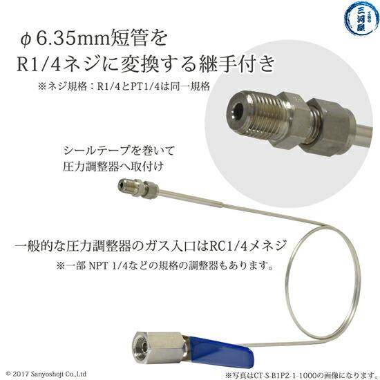 日酸TANAKA 高圧ガス用連結管CT-S-B1P2-1-1000(W22-14(R)-φ1/4付属の変換継手