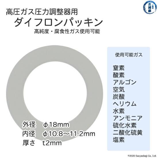 高圧ガスレギュレーター用テフロンパッキンのサイズ、使用ガスについて