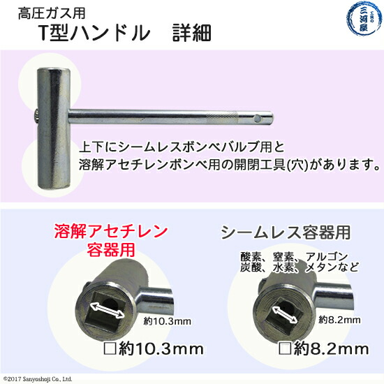 T型ハンドルの詳細アセチレン・ボンベ用の工具について