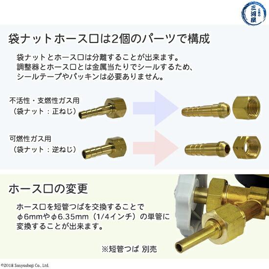 支燃性・不活性ガス用袋ナットと可燃性ガス用袋ナットのパーツと短管単管つばへの変更