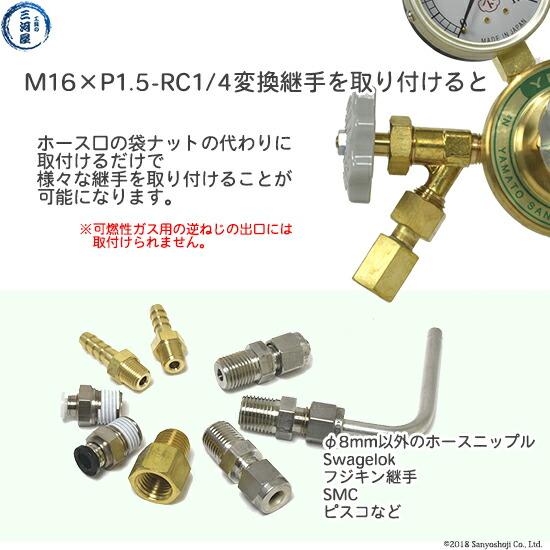 出口変換継手M16×P1.5(右)袋ナット×RC1/4で様々な継手が取り付け可能になります