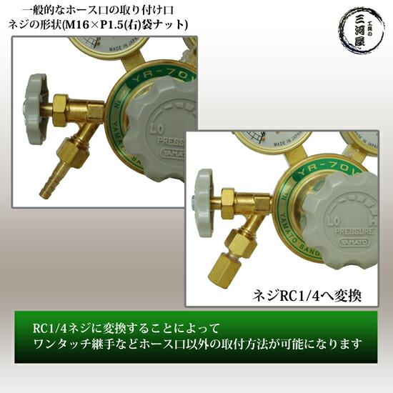 ヤマト産業 不活性ガス(窒素、アルゴン、空気使用可能)ストップバルブ付高圧ガス調整器YR-70V(YR70V)と出口形状RC1/4へ変換する継手変換継手M16×P1.5(右)袋ナット×RC1/4のお得なセット品詳細