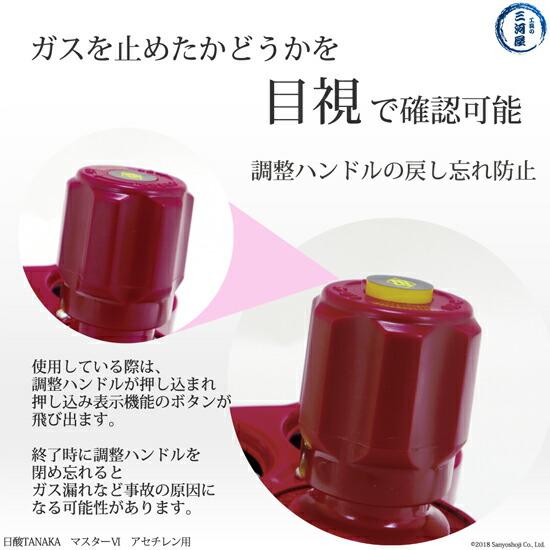 日酸TANAKA 押し込み表示機能でガスを止めたかどうかを目視で確認可能