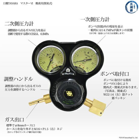 日酸TANAKA 酸素圧力調整器(関東式)マスター6 832Cの機能一覧