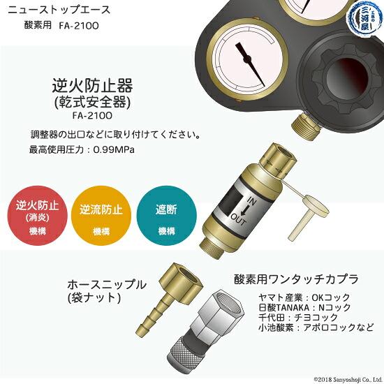 TANAKA逆火防止器(乾式安全器)酸素用FA210-Oの取り付け方