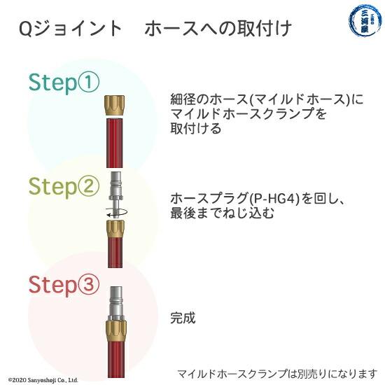 千代田精機 溶断用ホース継手QジョイントP-HG4のホースへの取り付け方