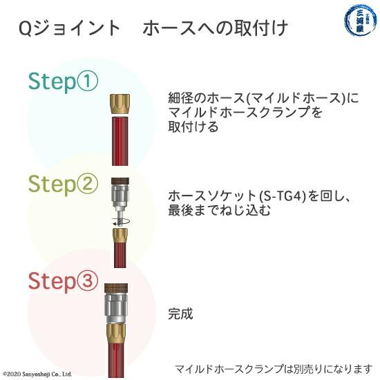 千代田精機 溶断用ホース継手QジョイントSTG4のホースへの取り付け方