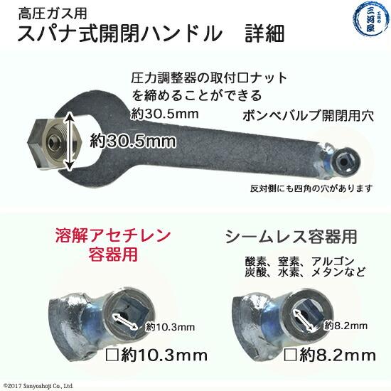 スパナ付開閉ハンドルの詳細、スパナ取付口イサイズ及びアセチレン・ボンベ用の工具について