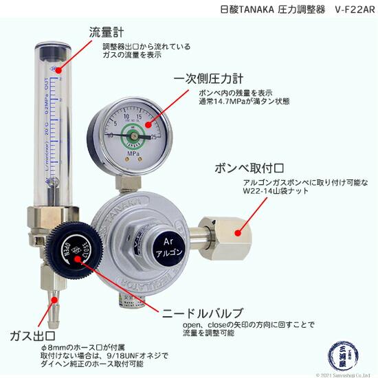 TIG溶接用アルゴンガス用流量計付圧力調整器 V-F22AR ダイヘン溶接機付属品 【日酸TANAKA製】説明