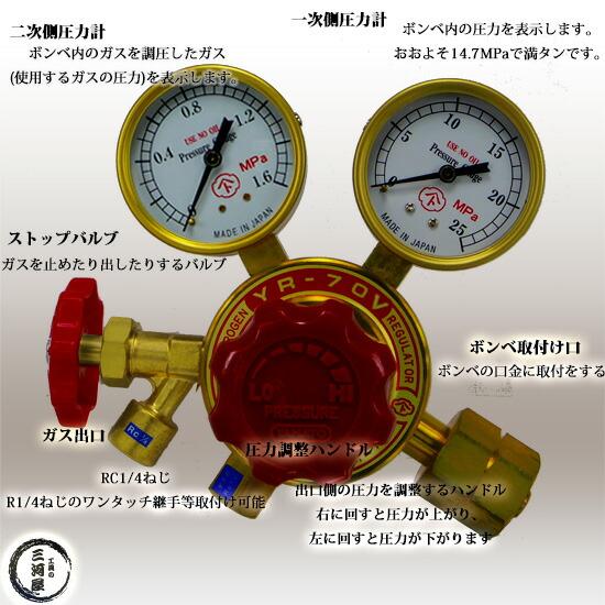 ヤマト産業株式会社 工業用ヘリウムガス用 ストップバルブ付調整器 YR-70V部品図