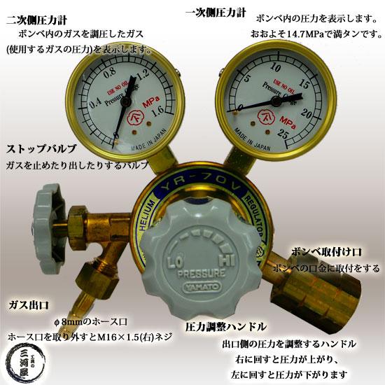 ヤマト産業株式会社 工業用ヘリウムガス用ストップバルブ付調整器YR-70V(YR70V) 出口ホース口仕様