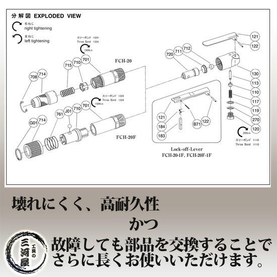 不二空機(FUJI) 小型軽量・強力・高耐久 フラックスチッパ FCH-20用平タガネ G-2-3 (200mm)