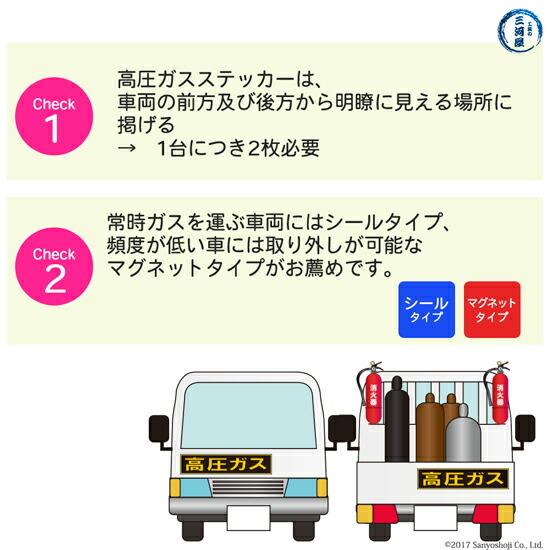 高圧ガスステッカー(警戒標)のサイズの選定について
