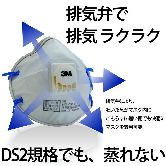 3M(スリーエム) DS2規格なのに排気弁でラクラク呼吸防じんマスク 3M(スリーエム)8805-DS2 10枚/箱
