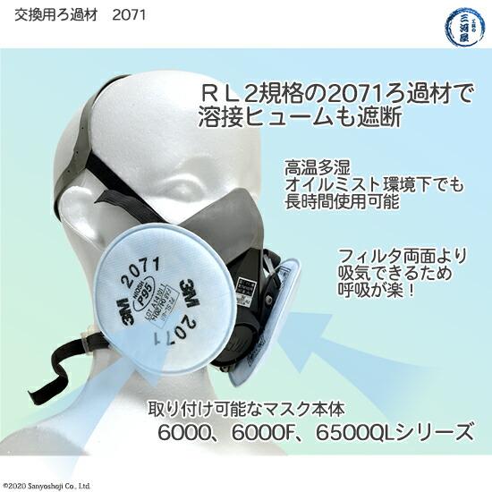 3M 防じんマスク用 ろ過材(フィルタRL2規格) 2071 1組の機能と取り付け可能マスク