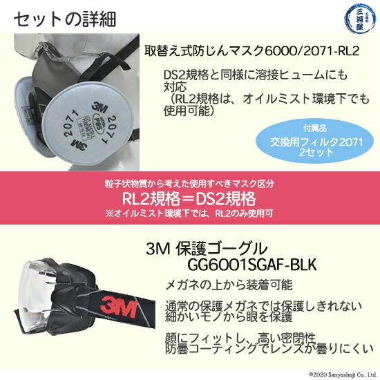 作業用保護具セット(保護ゴーグル+3M防じんマスク6000/2071-RL2 Mサイズ)の詳細