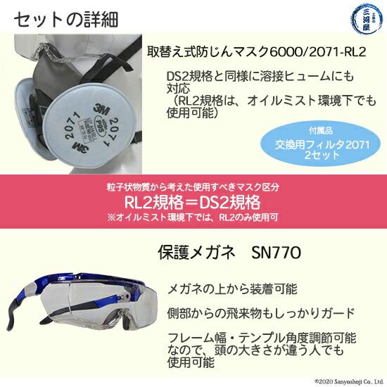 作業用保護具セット(保護メガネSN770+3M防じんマスク6000/2071-RL2 Mサイズ)の詳細