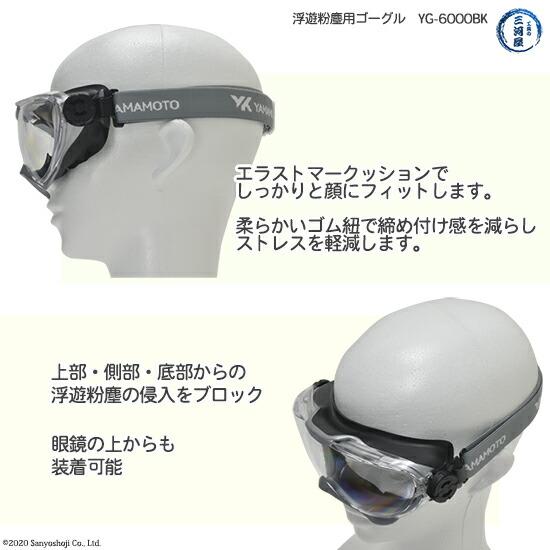 YAMAMOTO保護ゴグルYG-6000BKのエラストマークッションと保護範囲