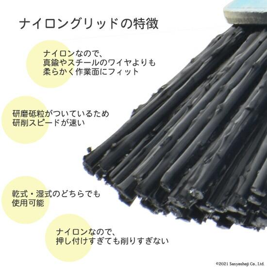 錦プライムグリットプラグリット線の特徴ナイロンと砥粒との新素材