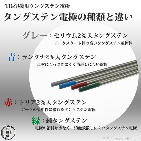 高圧ガス工業 TIG溶接用タングステン電極 トリタン(2%トリア入) 1.6×150mm 10本/箱 タングステン電極の違い
