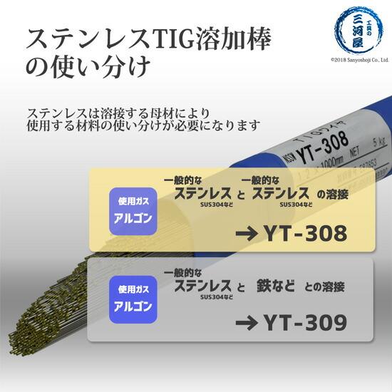 日鐵住金溶接工業(NSSW) ステンレス溶接用TIG溶加棒 YT-309 φ2.0mm バラ売り1kg ステンレス溶加棒の使い分け