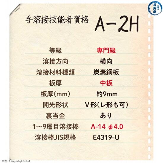 手溶接技能者資格A2Hの試験概要