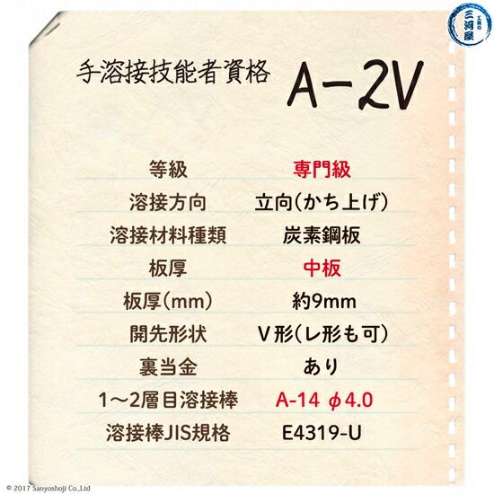 手溶接技能者資格A-2Vの試験概要