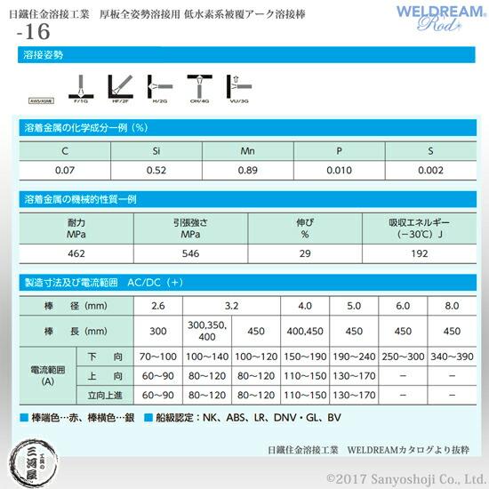 日鉄住金溶接工業(NSSW) 低水素系被覆アーク溶接棒 -16(S-16/NSSW-16) WELDREAM 4.0mm