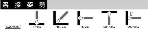 日鐵住金(日鉄住金:NSSW) 低水素系アーク溶接棒 L-55(L55)溶接姿勢