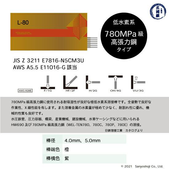 日鉄溶接工業780MPa級高張力鋼用被覆アーク溶接棒L-80(L80)の仕様