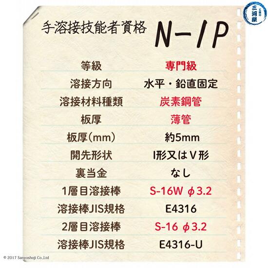 手溶接技能者資格N-1Pの試験概要