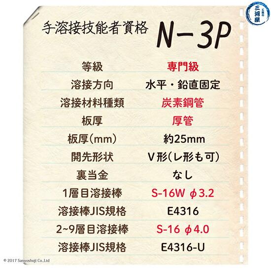 手溶接技能者資格N-3Pの試験概要