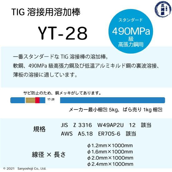 日鉄溶接工業軟鋼・490MPa級高張力鋼溶接用スタンダードなTIG棒YT-28の仕様