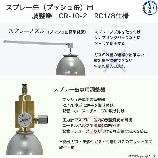 ジーエルサイエンス大陽日酸標準ガスプッシュ缶のスプレーノズルと調整器レギュレーターとの比較