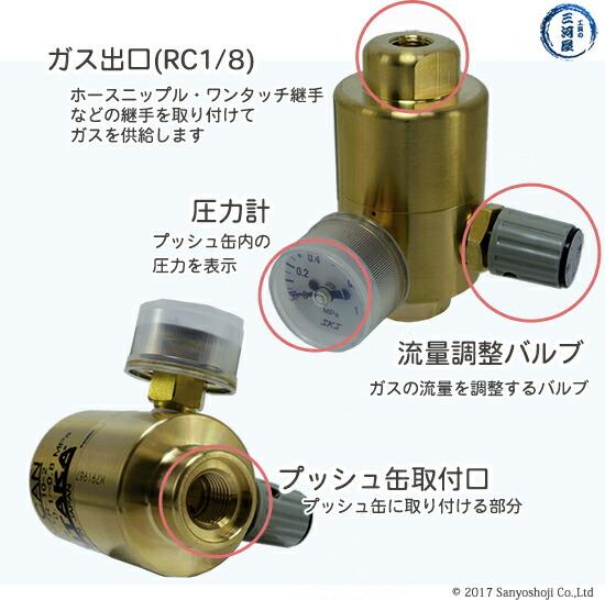 クラウン校正ガス用調整器CR-10-2の仕様出口圧力計取付口バルブ