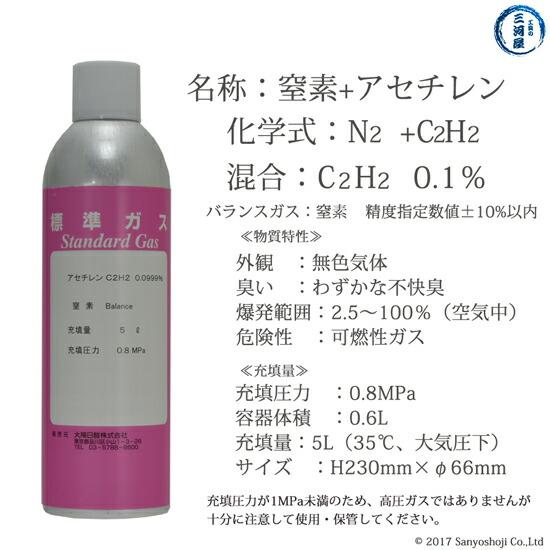 大陽日酸 純ガススプレー缶 二種混合 窒素+アセチレン:アセチレン(0.1%) N2+C2H2(0.1%) 5L 0.8MPa充填の特性
