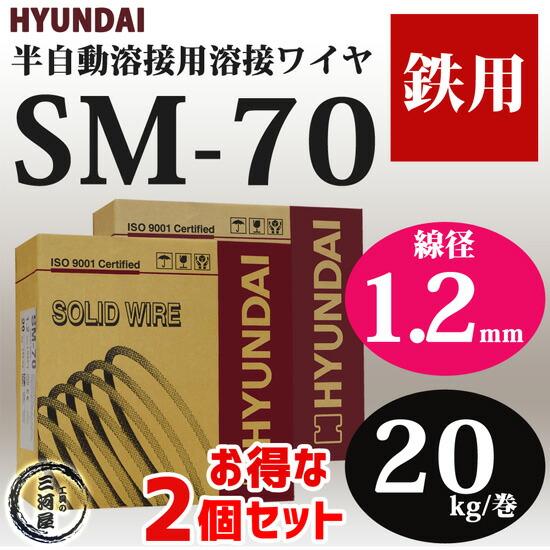溶接ワイヤSM-70(SM70) 線径1.2mm 20kg/巻お得な2個セット