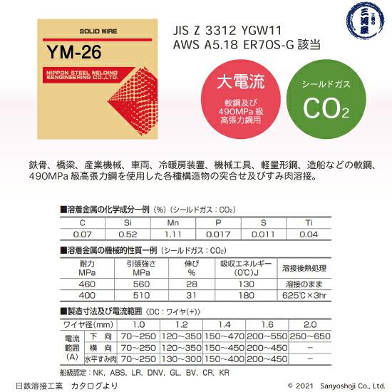 厚板の溶接に向いている日鉄溶接工業軟鋼・490MPa級高張力鋼溶接用溶接ワイヤYM-28の仕様