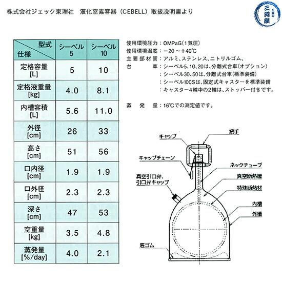 液化窒素容器 シーベル(CEBELL)10L ジェック東理社 図面