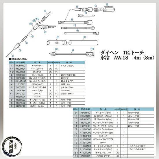 ダイヘン(DAIHEN)純正水冷TIGトーチ 300A水冷アングル形 AW-18(AW18) 長さ4m
