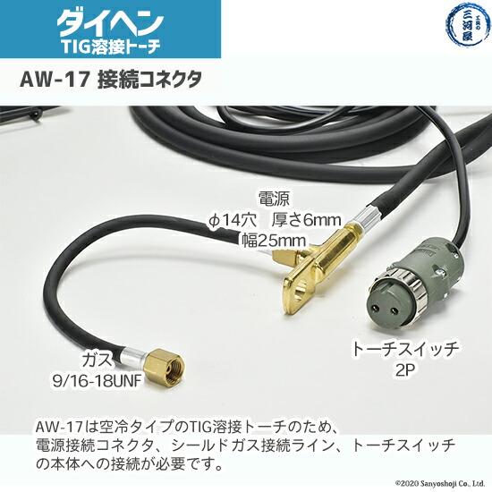 ダイヘンTIGトーチAW-17の溶接機への接続部コネクタ