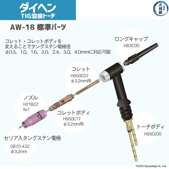 daihenAW18の標準搭載の先端部品図
