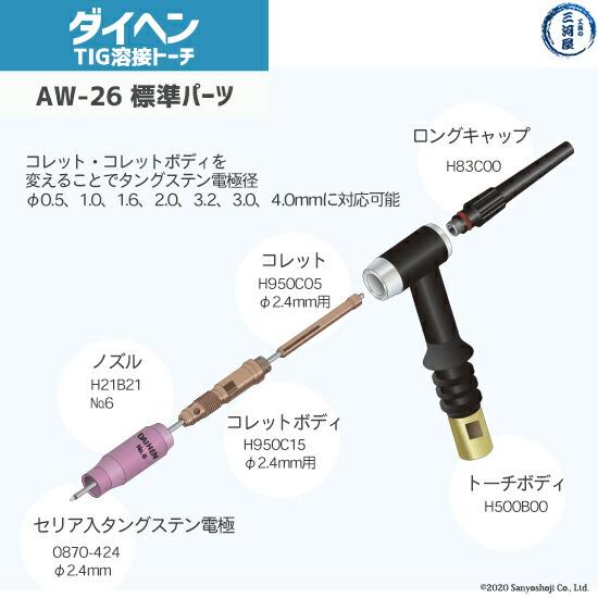 daihenAW26の標準搭載の先端部品図