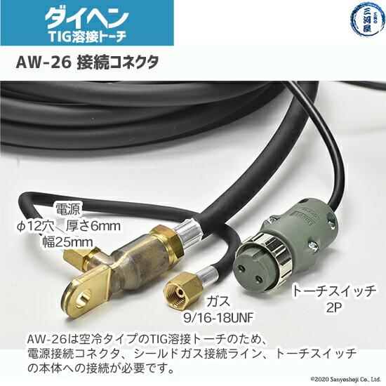 ダイヘンTIGトーチAW-26の溶接機への接続部コネクタ