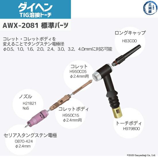 daihenAWX2081の標準搭載の先端部品図