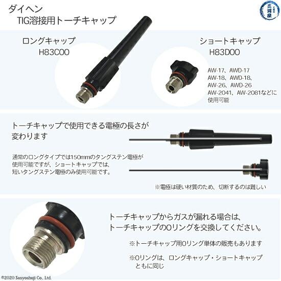 【TIG溶接部品】ダイヘン TIG溶接用ロングキャップ    H83C00   TIGトーチ 【AW-26用】    部品説明