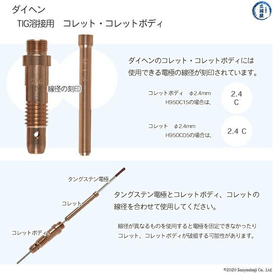 【TIG溶接部品】ダイヘン コレットボディ φ2.0mm H950C14 TIGトーチ 【AWD-18用】   部品説明