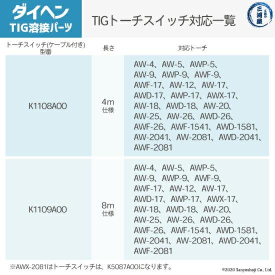 K1109A00TIGトーチスイッチ使用可能トーチ