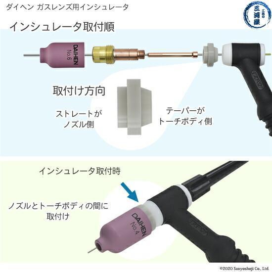 【TIG溶接部品】ダイヘン ガスレンズ用インシュレータ H21B60 TIGトーチ 【AWX-2081用】ガスレンズ用インシュレーターの取付